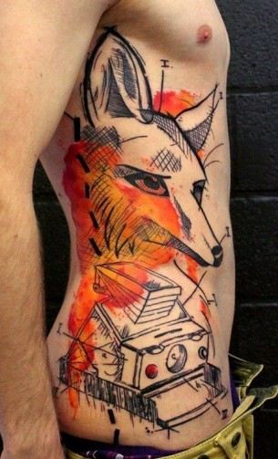Fox Tattoo On Side