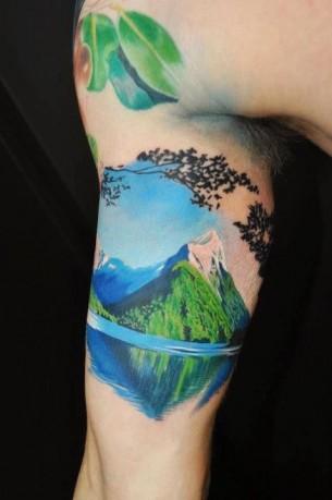 Lake And Mountain Tattoo