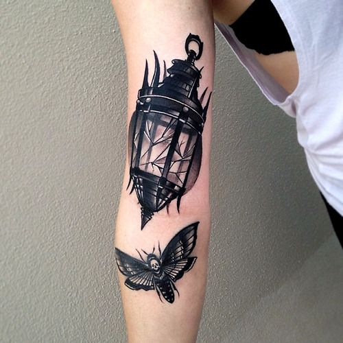 Lamp And Butterfly Tattoos