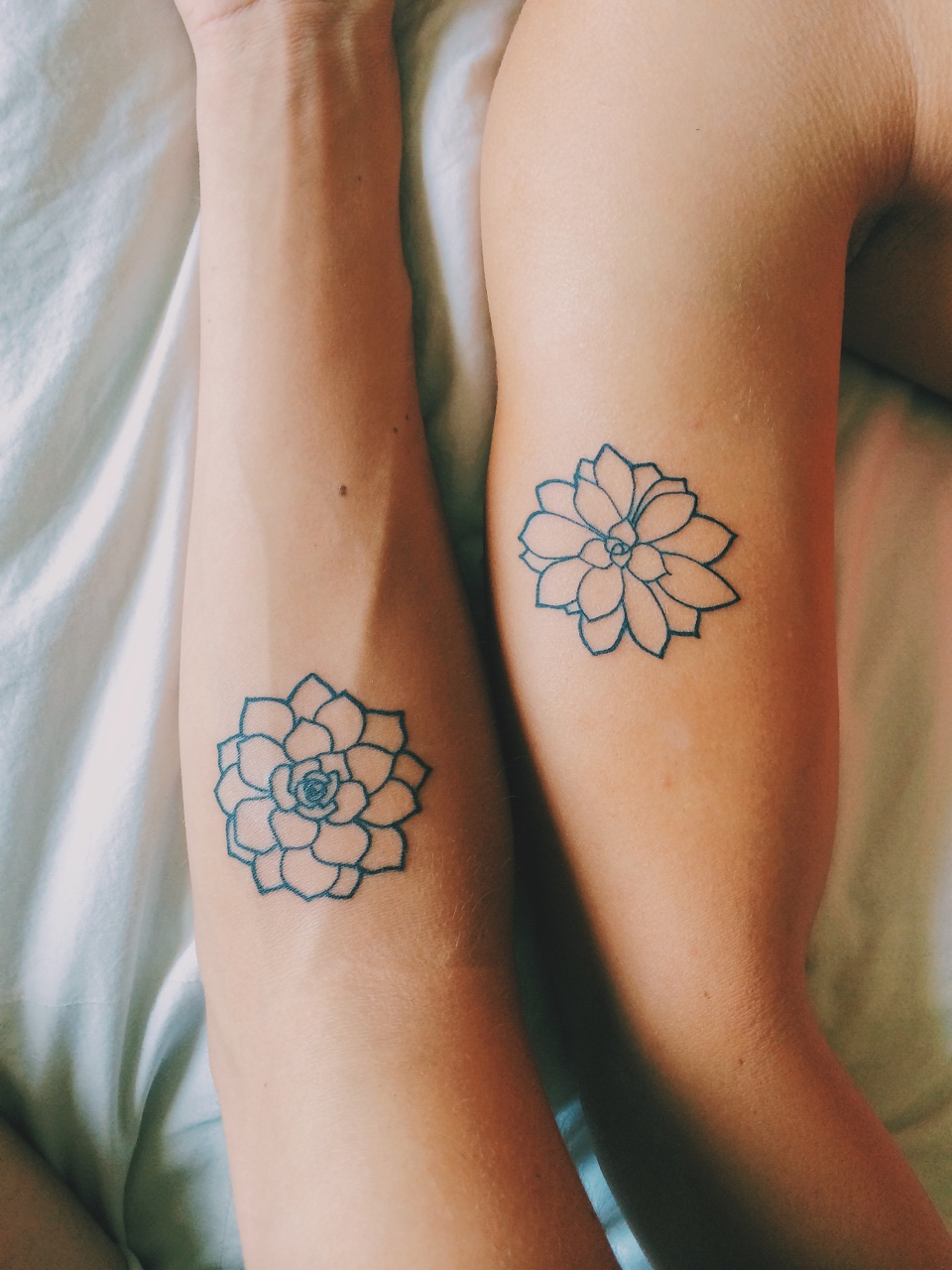 Matching Flowers Tattoos
