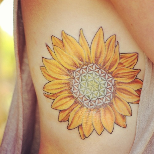 Sunflower Side Tattoo