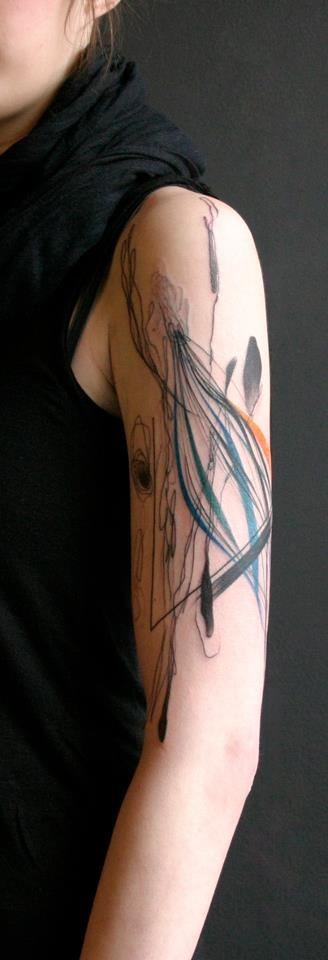 Abstract Watercolor Arm Tattoo By Dead Romnanoff