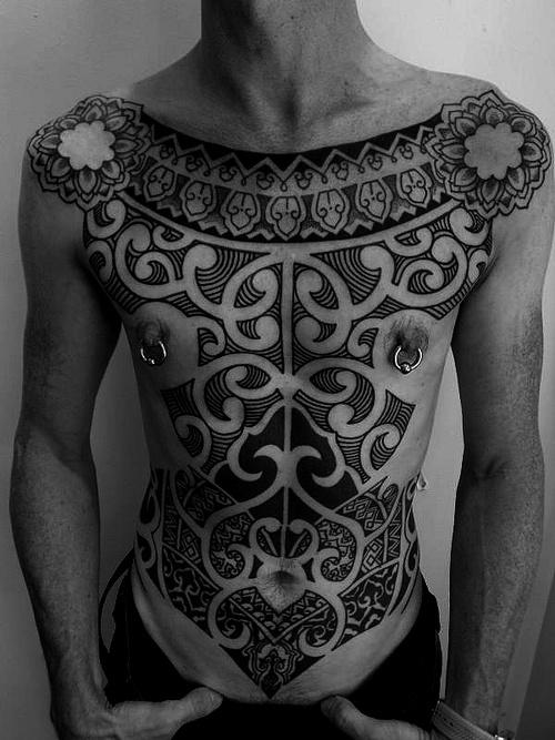 Amazing Tribal Chest Tattoo Design