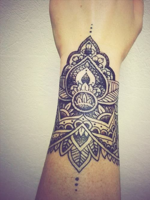 Beautiful Black Mandala Wrist Tattoo
