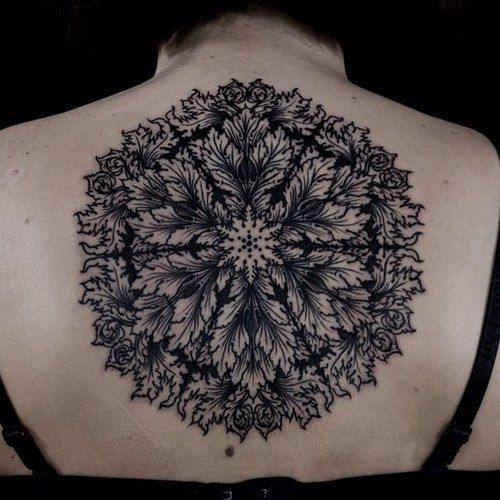 Black Back Floral Tattoo