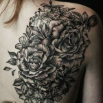 Black Roses Back Tattoo