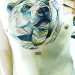 Geometric Polar Bear Tattoo By Peter Aurisch