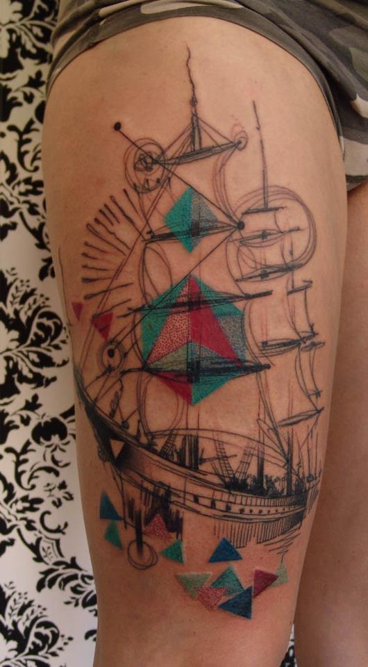 ship tattoo by dead romanoff best tattoo design ideas. Black Bedroom Furniture Sets. Home Design Ideas