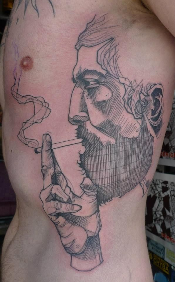 Line Drawing Face Tattoo : Sketch style face on side best tattoo design ideas
