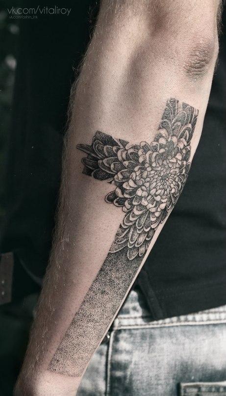 black floral cross tattoo