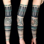 Black & Green Tribal Tattoo