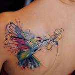 Amazing Hummingbird Watercolor Tattoo