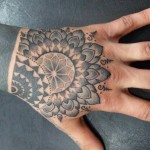 Awesome Black Mandala Hand Tat
