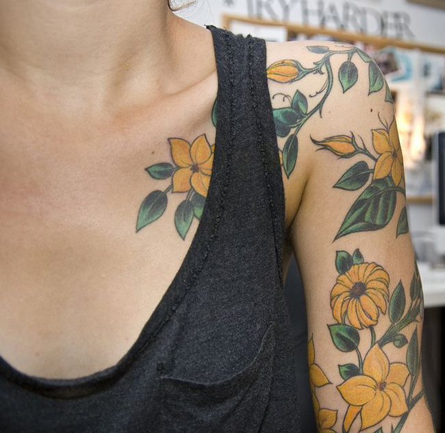 Beautiful Yellow Flowers Tattoo