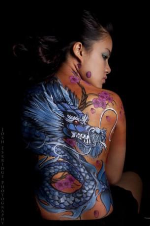 Blue Dragon Full Back Tattoo