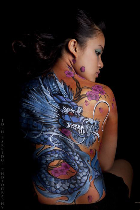 Blue Dragon Full Back Tattoo