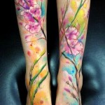 Cherry Blossoms & Lavender Watercolor Tattoo
