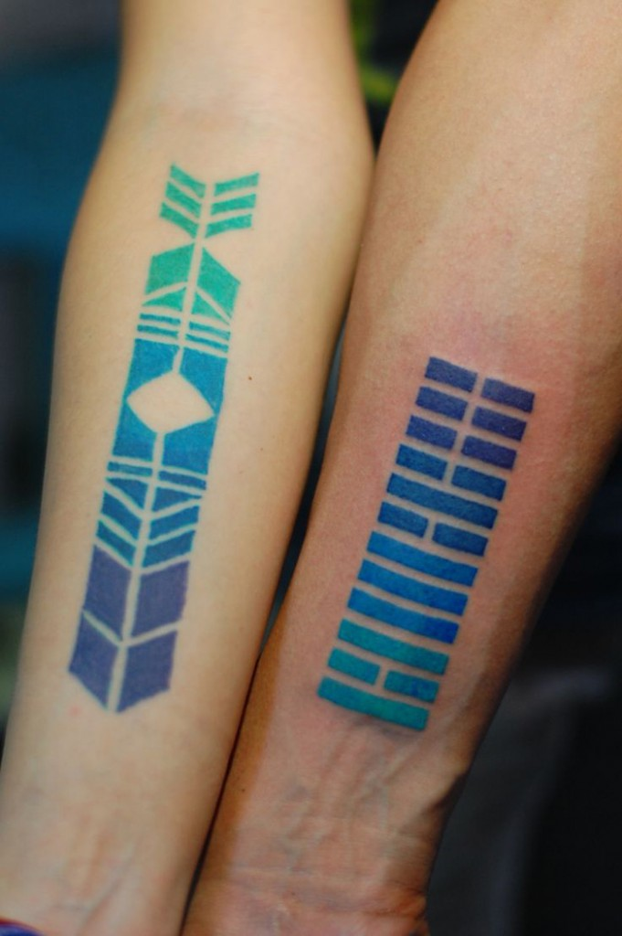 Color Gradient Geometric Tattoos | Best tattoo design ideas Vegvisir Tattoo