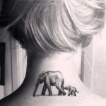 Elephant and Baby Neck Tattoo
