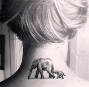 Elephant & Baby Neck Tattoo