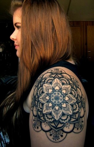 Awesome Mandala Shoulder Tattoo