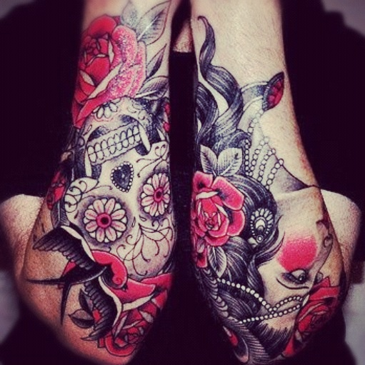 Pink Roses Skull Sleeve Tattoo