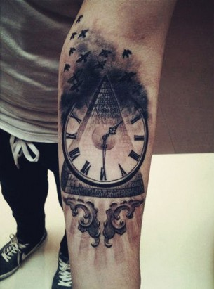 Time & Money Flies Tattoo