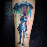 Umbrella Watercolor Tattoo