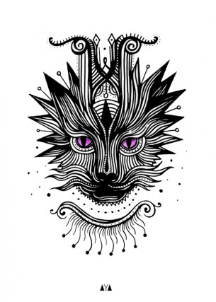 Line Cat Tattoo Design