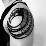 Black Geometric Shoulder Tattoo