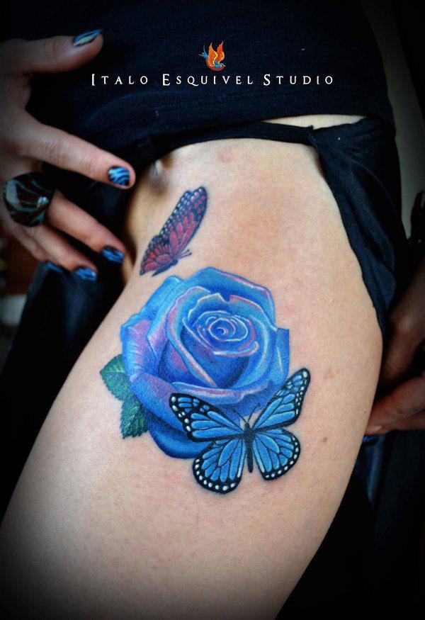 Vivid Blue Rose Tattoo
