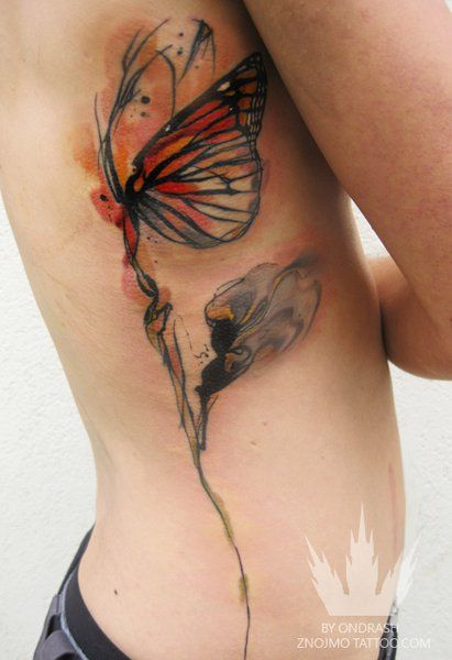 Butterfly Side Watercolor Tattoo