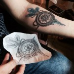 Compass & Feathers Tattoo