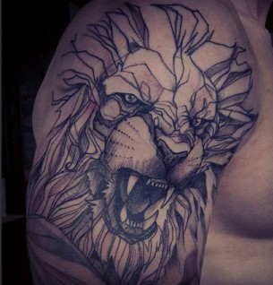 Gemoetric Lion Shoulder Tattoo