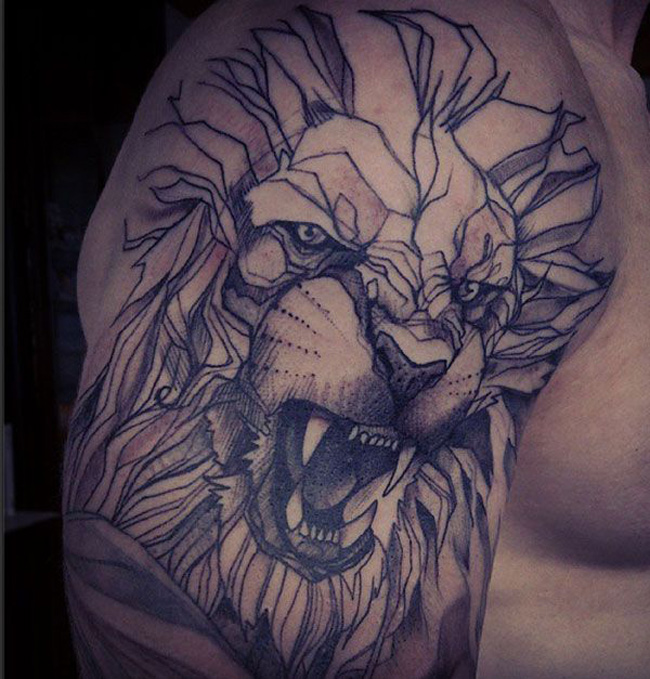 Geometric Lion Shoulder Tattoo Best Tattoo Design Ideas
