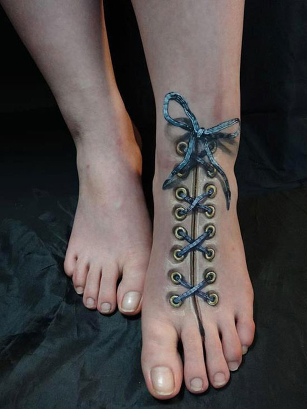 Laced Foot Tattoo