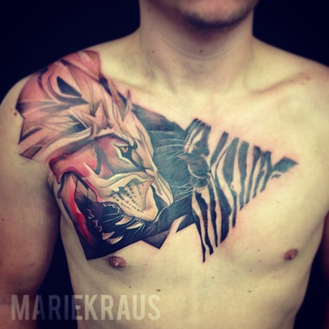 Lion & Zebra Tattoo