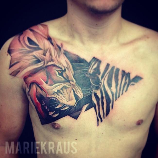 Lion & Zebra Tattoo