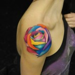 Multicolored Rose Tattoo