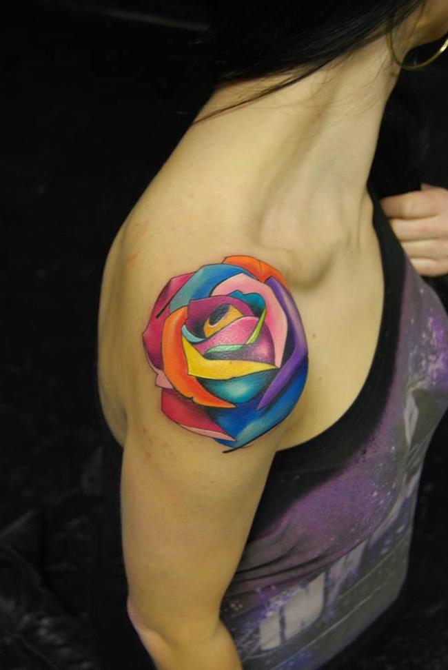 Multicolored Rose Tattoo