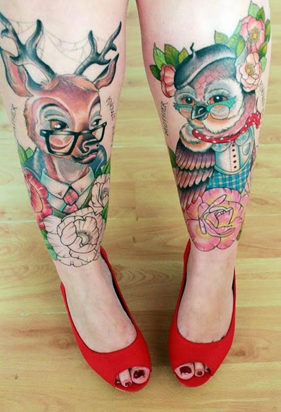 Deer & Owl Tattoo