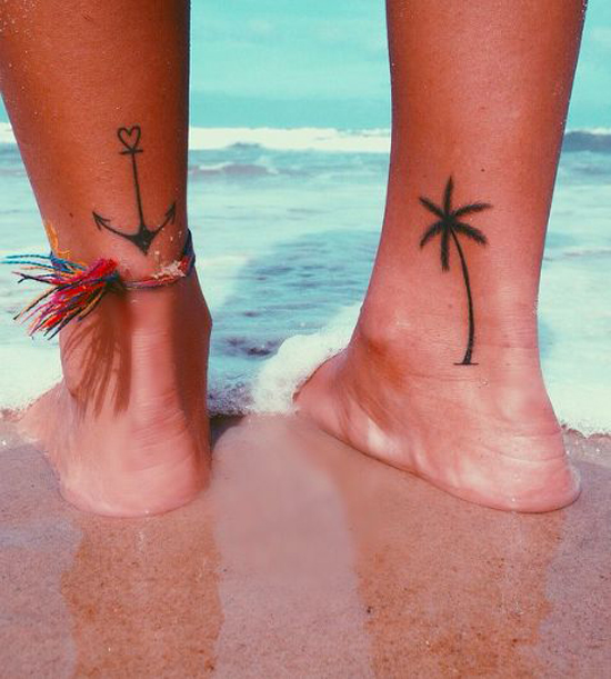 Palm Tree & Anchor Ankle Tattoos