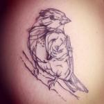 Sparrow Sketch Tattoo