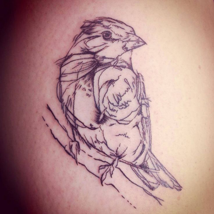 Sparrow Sketch Tattoo