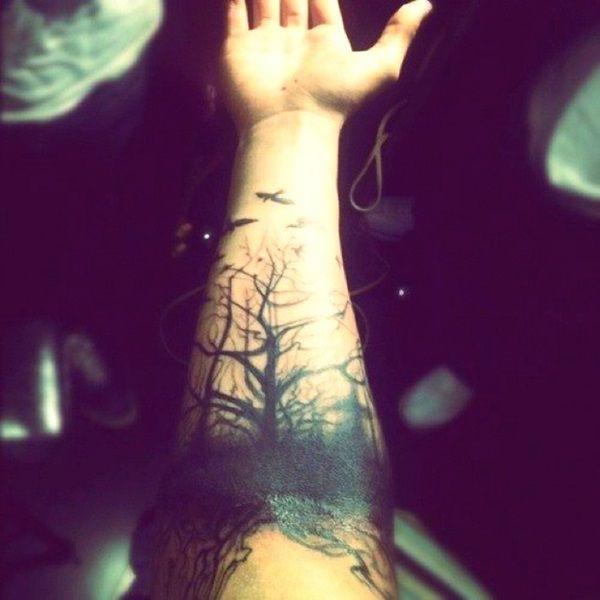 Trees & Birds Tattoo