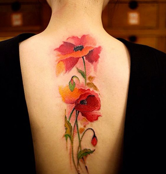 Watercolor Poppy Tattoo