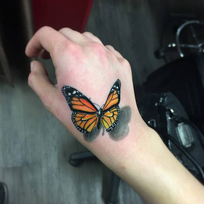3D Butterfly Hand Tattoo