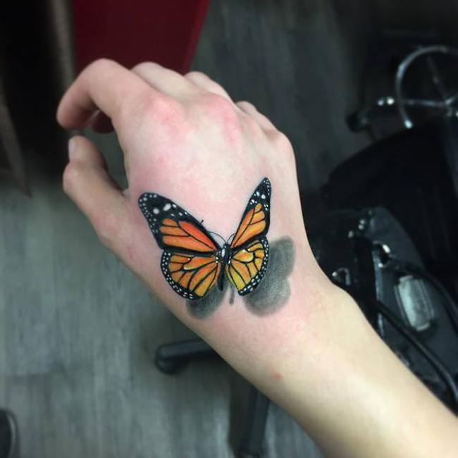3D Butterfly Hand Tattoo