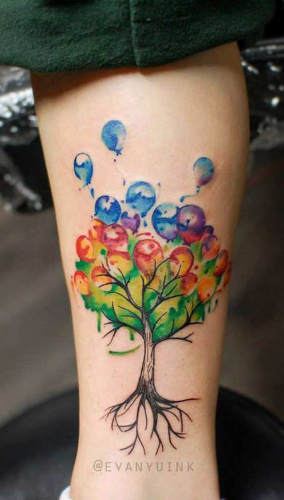 Custom Balloon Tree Tattoo Done By Evan At Chronic Ink Shop