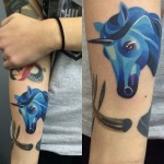Blue Unicorn Tattoo
